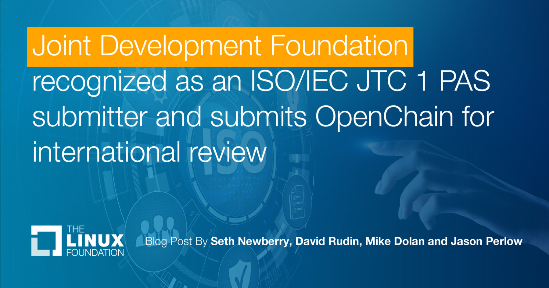 Joint Development recognized as ISO/IEC JTC 1 PAS Submittor